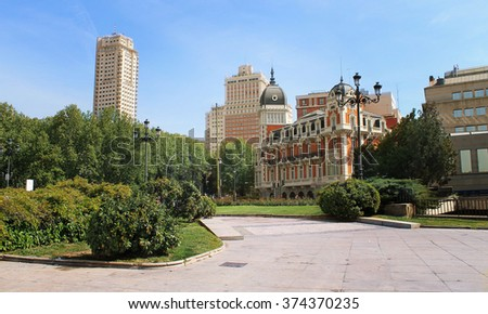 view of the city, the center of Madrid, Spain - stock photo