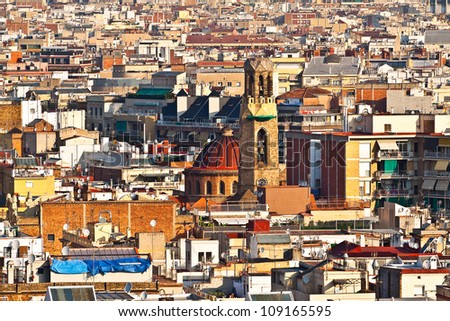 View of the city, with the church and bell tower (Barcelona city, Catalonia, Spain, Europe) - stock photo