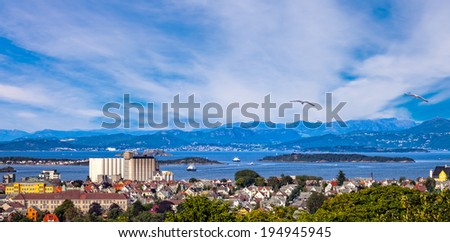 View of the cityscape of Stavanger in Norway. - stock photo
