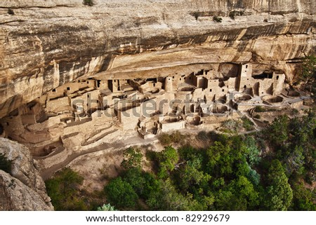 View of the Cliff Palace in Mesa Verde National Park, Colorado - stock photo