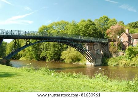 view of the Coalport Bridge and River Severn, near Ironbridge, Shropshire, UK - stock photo