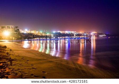 view of the coast of the Red Sea in Sharm el-Sheikh at night