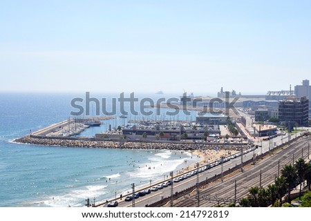 View of the coast Tarragona port. Spain. - stock photo
