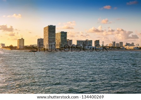 View of the coastline and beaches near sunset from  Fort Lauderdale, Florida - stock photo