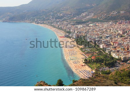 View of the coastline in Alanya - stock photo