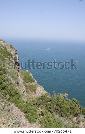 "view of the coastline, near "" cap frehel """