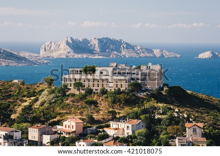 View of the coastline of Marseille in the South of France  - stock photo