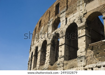 view of the coliseum of ancient Rome - stock photo