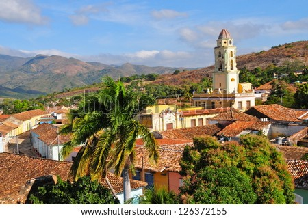 view of the colonial city of Trinidad, Cuba - stock photo