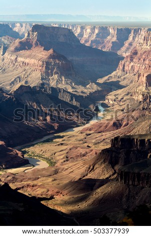 View of the Colorado River flowing through the Grand Canyon
