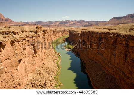 View of the Colorado River in the Grand Canyon from the Navajo Bridges - stock photo