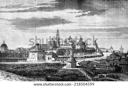 View of the convent of Troitsa, vintage engraved illustration. Le Tour du Monde, Travel Journal, (1872). - stock photo