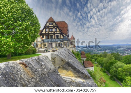 View of the countryside from the castle Coburg. The Coburg Fortress (Veste Coburg) of Franconia region in Bavaria is one of the largest surviving medieval fortresses in Germany. - stock photo
