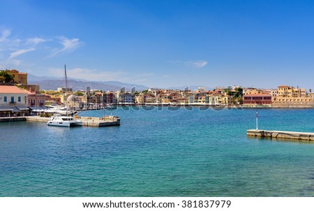 View of the Cretan sea and Greek port of Chania on the island of Crete. - stock photo