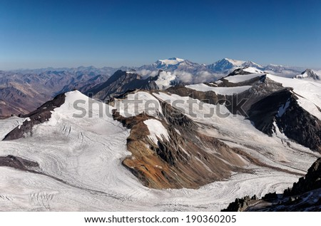 View of the Cuerno Mountain from Aconcagua mountain at 6000 meters. Aconcagua Provincial Park, Mendoza, Argentina, South America. - stock photo