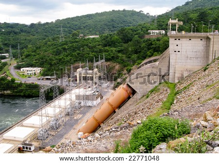 View of the dam and hydro-electric generators and pylons in Ghana in Africa - stock photo