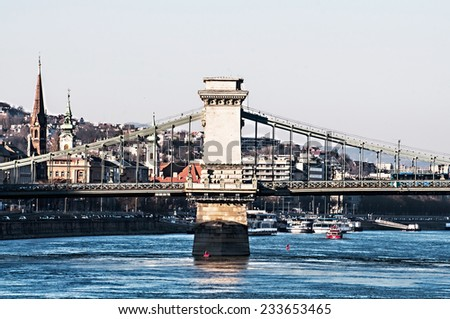 view of the Danube River and the city of Budapest, Hungary