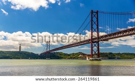 View of the 25 de Abril Bridge - Lisbon, Portugal - stock photo