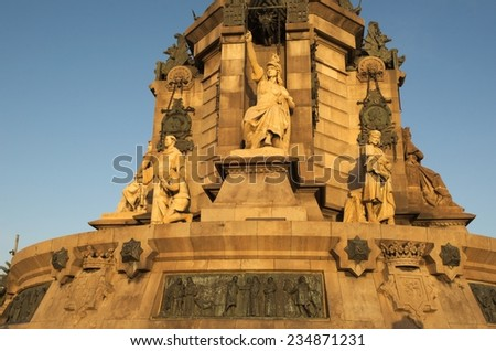 View of the details of famous mirador de colon - columbus monument - situated in barcelona, spain. - stock photo