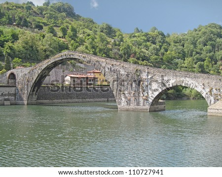 View of the Devil's Bridge in Borgo a Mozzano, Lucca