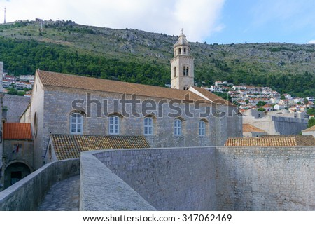 View of the Dominican Monastery, in the old city of Dubrovnik, Dalmatia, Croatia - stock photo