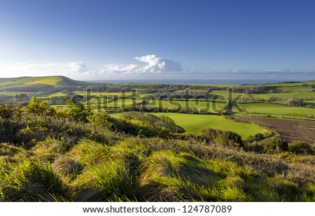 View of the Dorset countryside from the Isle of Purbeck taken from the Lulworth firing ranges.