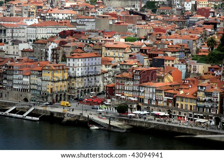 View of the downtown area of the city of Porto, Portugal. - stock photo