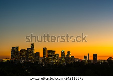 view of the downtown los angeles lights at sunset from Elysian Park - stock photo