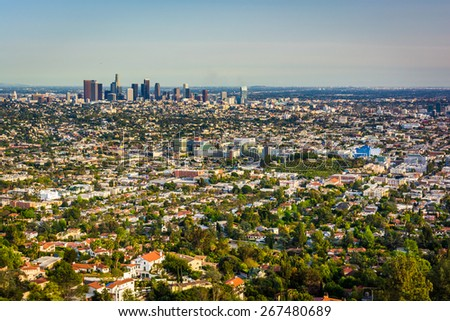 View of the downtown Los Angeles Skyline, from Griffith Observatory, in Los Angeles, California. - stock photo