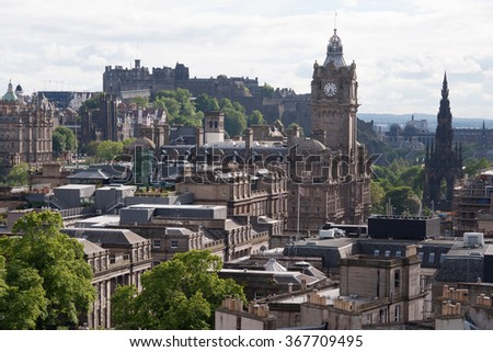 View of the downtown of Edinburgh in Scotland. - stock photo