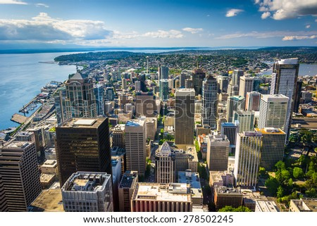 View of the downtown skyline, in Seattle, Washington. - stock photo