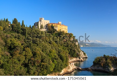 View of the Duino castle in Italy - stock photo