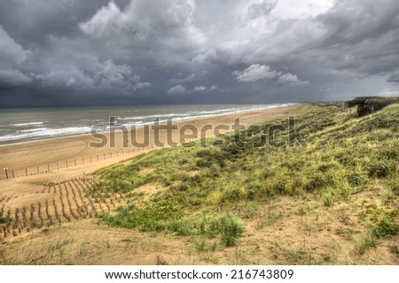 View of the dunes and North Sea during a spell of bad weather in Holland - stock photo