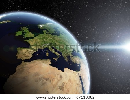 View of the Earth from space, Europa, Africa close up - stock photo