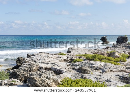 View of the east coast Isla Mujeres, Mexico. The island is located 8 miles east of Cancun in the Gulf of Mexico. - stock photo