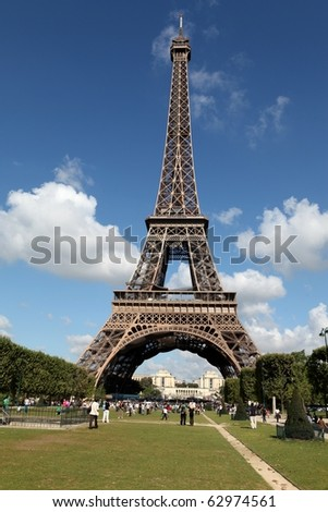 View of the Eiffel Tower from Champ de Mars, Paris, France - stock photo