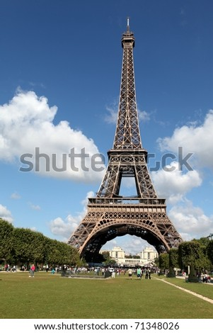View of the Eiffel Tower from Champ de Mars, Paris, France