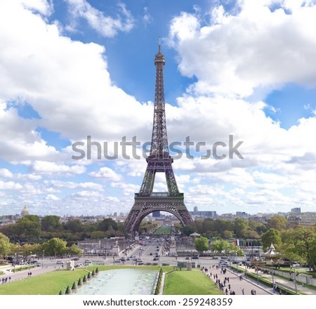 view of the Eiffel tower in Paris, France. Seen from the Trocadero Square - stock photo