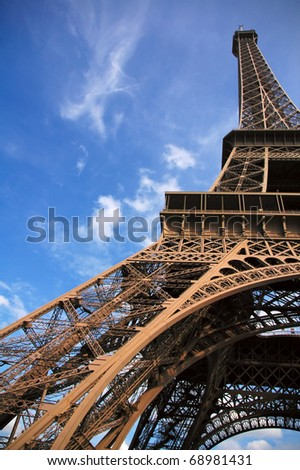 View of the Eiiffel Tower from on of its pillars - stock photo