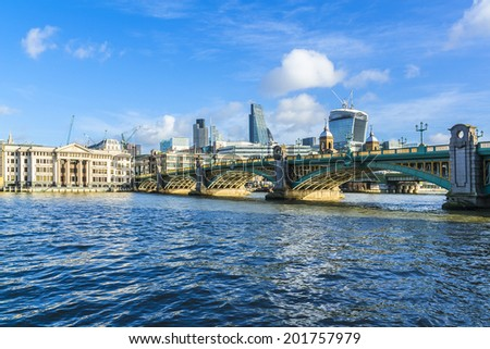 View of the Embankment and River Thames at sunset. London, England. - stock photo