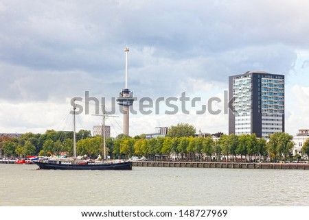 View of the embankment in Rotterdam, Holland - stock photo