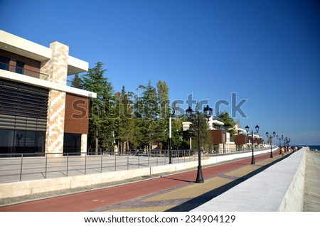 View of the embankment in the Olympic village of Sochi, Russia - stock photo