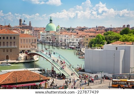View of the entrance to the city of Venice, Piazzale Roma, July 5, 2014 in Venice, Italy, Editorial for only - stock photo