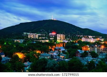 View of the evening city. Pyatigorsk. Russia - stock photo