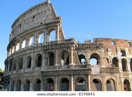 View of the exterior of the Colosseum in Rome, Italy.