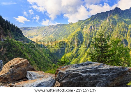 View of the Fagaras mountains in Romania - stock photo