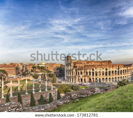 View of the famous amphitheater Colosseum in Rome, Italy. - stock photo