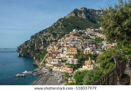 "View of the famous and historic little city ""Positano"" at the Amalfi coast in Italy"