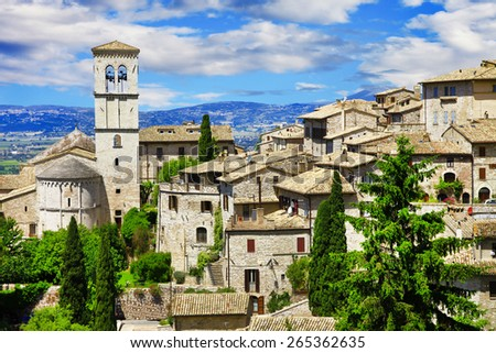 View of the famous Basilica of St Francis, Assisi, Italy - stock photo