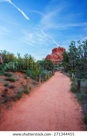 View of the famous Bell Rock at the Courthouse Butte loop in Sedona, Arizona, AZ, an American landmark - stock photo